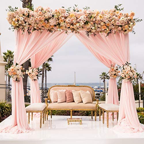 Chiffon Curtain for Backdrop 10ft x 8ft Wrinkle Free Light Peach Backdground Curtain for Wedding Party Decor