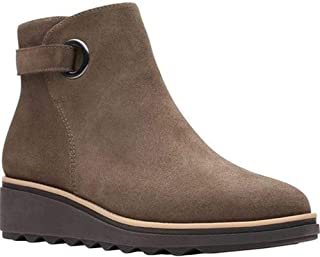 Clarks Women's Sharon Spring Ankle Boot, Olive Suede, 7.5
