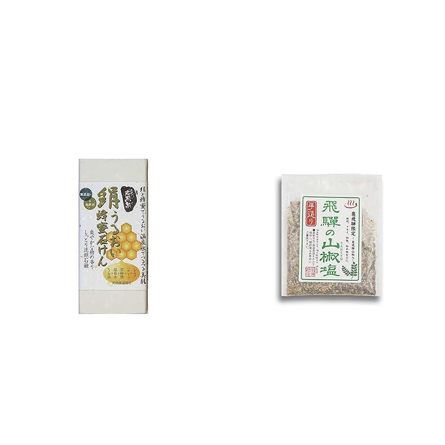 修正有彩色のスチール[2点セット] ひのき炭黒泉 絹うるおい蜂蜜石けん(75g×2)?手造り 飛騨の山椒塩(40g)