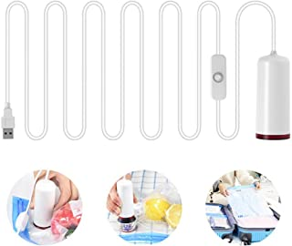 Mini Vacuum Pump, Hamkaw USB Travel Electric Vacuum Pump with Storage Bags BPA Free - Portable Handheld Automatic Vacuum Sealer Space Saver for Clothes & Food - White