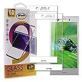 Guran [2 Paquete Protector de Pantalla para Sony Xperia XZ1 Compact Smartphone Cobertura Completa Protección 9H Dureza Alta Definicion Vidrio Templado Película - Blanco