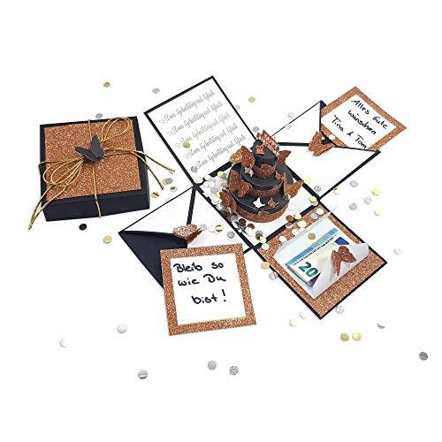 Frau WUNDERVoll® DIY Explosionsbox Bastelset Happy Birthday mit Aufklapp-Funktion schwarz matt,glitzer Maße Box 10x10x10cm(gefaltet), Geburtstag Geschenkbox Geldgeschenk Scrapbook