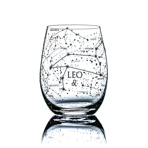 Greenline Goods Leo Stemless Wine Glass | Etched Zodiac Leo Gift | 15 oz (Single Glass) - Astrology Sign Constellation Tumbler