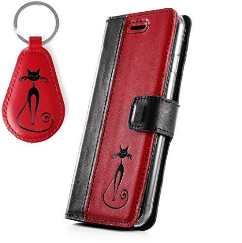 SURAZO Handy Hülle Für Apple iPhone SE 2020 - Schwarz Fabelhafte Katze - TV Duo Costa Schwarz/Rot - Glattleder Premium - Vintage Wallet Case