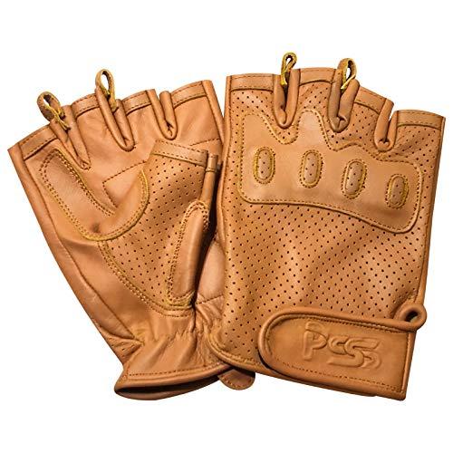 PSS Fingerlose Motorrad-Handschuhe für Sport, Outdoor, Fitnessstudio, Fitness, Training, Mode, Bus, Fahrrad, Retro-Rennfahrer-Handschuhe, 318 (318 Tan, S)