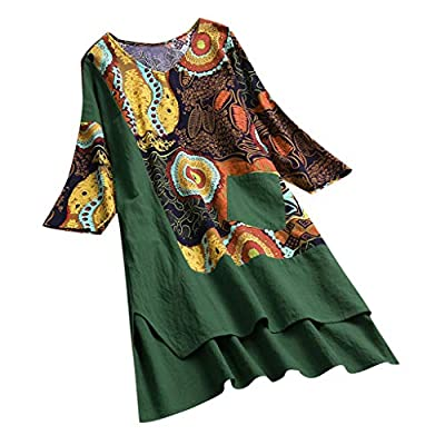 Women Vintage Patchwork Dress High Low Hem Boho Print Half Sleeves Pocket Dress Green from TOPUNDER