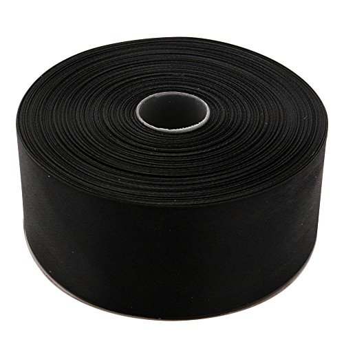 Topenca Supplies 2 Inches x 50 Yards Double Face Solid Satin Ribbon Roll, Black