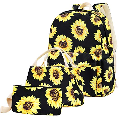 School Bags Backpack Set Teen Girls Bookbag with Lunch Box Bag and Pencil Case for 14inch Laptop (Sunflower)