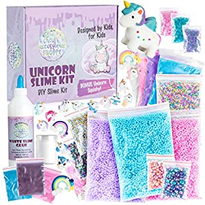 Unicorn Slime Kit for Girls – Ultimate DIY Slime Making Kit and Add Ins to Make Rainbow Unicorn Slime, Crystal Unicorn Slime, and Unicorn Poop Slime, Ages 6-12