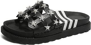 Women's Slip on Slides Platform Chunky Block Heel Sandals Open Toe Summer Slipper Shoes(Black-1 35/4.5 B(M) US Women)