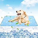 PUPTECK Dog Cooling Mat 47'x28' Extra Large, Waterproof Summer Self Cold Silk Pad for Doggies Cats Sleep Bed with Super Absorption, Washable & Reusable, Breathable, Cute Paw Pattern