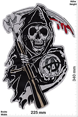 Parches - Sons of Anarchy - 34 cm - Bigpatch - Biker - Parche Termoadhesivos Bordado Apliques - Patch