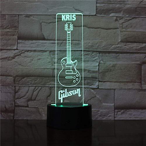 3D Symphony Light Led Bass Music Night Light Vacaciones Regalo De Cumpleaños Decoración De La Habitación Del Bebé Lámpara De Mesa Para Niños Guitarra De 16 Variaciones De Color