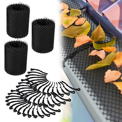 Relaxdays 3 x Dachrinnen Laubschutz, je 6 m lang, Kunststoff Laubgitter, Gesamtlänge 18 m, Laubfangstreifen für Regenrinnen, schwarz