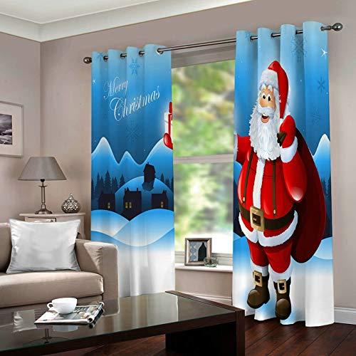 ANAZOZ 2 Cortinas Habitacion Cortinas Poliester Habitacion Papá Noel y Copo de Nieve Merry Christmas Azul Rojo Cortina para Dormitorio Tamaño 214x244CM