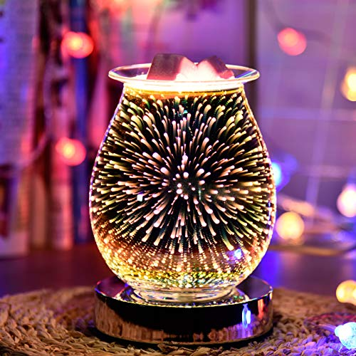 XHEU 3D Aromatherapy Lamp, Touch Sensor Aromatherapy Lamp Glass Electric Oil Burner Wax Melts Furnace 3D Fireworks Aroma Lamp Night Light Decoration for Home Office Bedroom Living Room Gifts(Firework)