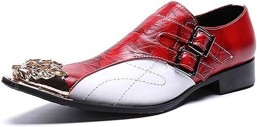 HNM zapatos Hombre Zapaños de Cuero Vaquero Oxford Mocasines Metal Puntiagudo Slip On Vestido Boda Zapaños Talla 37-46