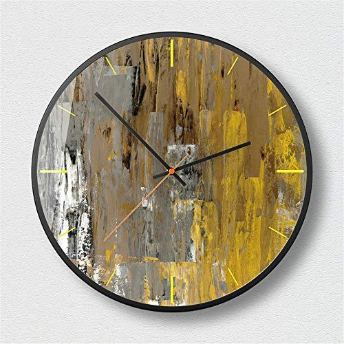 BBQBQ Reloj de Pared Mudo Vintage, Reloj de Pared de Cocina, Sala de Estar, Dormitorio, Oficina, Estudio,Reloj de Pared de Arte Abstracto Misterioso Negro - A 12 Pulgadas