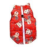 SHOBDW Pull-Overs Sweat Coton Veste Chiot Manteau Hiver pour Petit Chien Chat Costume Fermeture éclair (Pastèque Rouge, S)