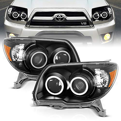 AmeriLite Black Projector Headlights Dual Intense LED Halo for Toyota 4 Runner - Passenger and Driver Side