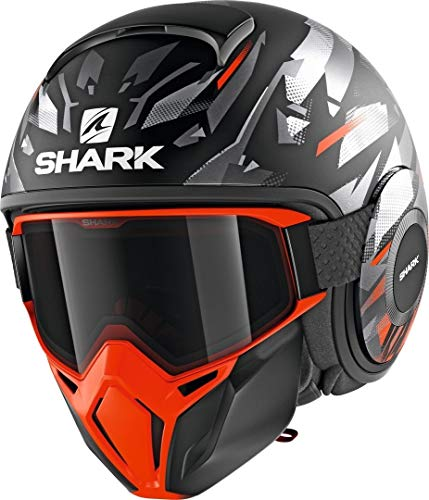 SHARK NC Casco per Moto, Hombre, Negro/Oroange, M