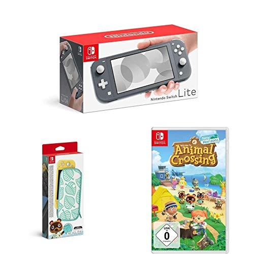 Nintendo Switch Lite, Standard, Grau + Animal Crossing: New Horizons + Nintendo Switch Lite Schutzhülle - Animal Crossing: New Horizon-Edition