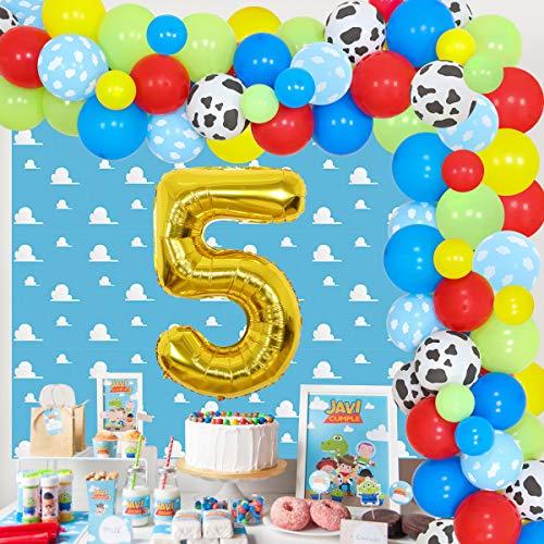 Toy Inspired Story - Juego guirnalda globos 5º cumpleaños, diseño dibujos animados color rojo, amarillo y azul, fondo nube y globos vaca para niños, suministros fiesta cumpleaños cinco años