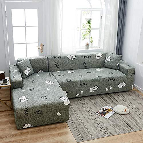 Funda Elástica de Sofá Fundas de sofá de 4 plazas con Estampado de celosía en Forma de L, Fundas elásticas Antipolvo Protectoras de sofá DD 235-300cm 1 PCS