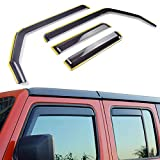 XBEEK in-Channel Side Window Deflectors Ventvisor Front and Rear Visors for 2018-2021 Jeep Wrangler JL and Gladiator JT 2020-2021 Accessories (4-Door)
