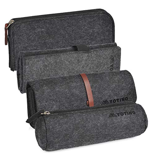 YOTINO Pencil Case with 4 Different Styles, Multi-Functional Felt Pen Case Cosmetic Pouch Bag (Deep Gray)