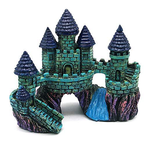 GOTDCO. Aquarium Decoration Castle,Aquarium Ornament Big Castle,Realistic Resin Fish Tank Supply Accessory Mythical Magic Castles Aquarium Ornament Eco-Friendly for Tiny Fish Swim (Multicolored)