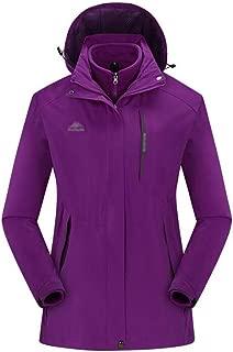 FYXKGLa Ladies Jacket Outdoor Ski Suit Breathable Warm Mountaineering Jacket (Color : Purple, Size : XXXL)