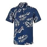 アロハシャツ メンズ 半袖シャツ ビーチシャツ 軽量 ハワイ風 花柄シャツ 通気速乾 プリントシャツ HW024ハイビスカス US L