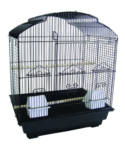 YML 3/8-Inch Bar Spacing ShellTop Small Bird Cage, 18-Inch by 14-Inch, Black