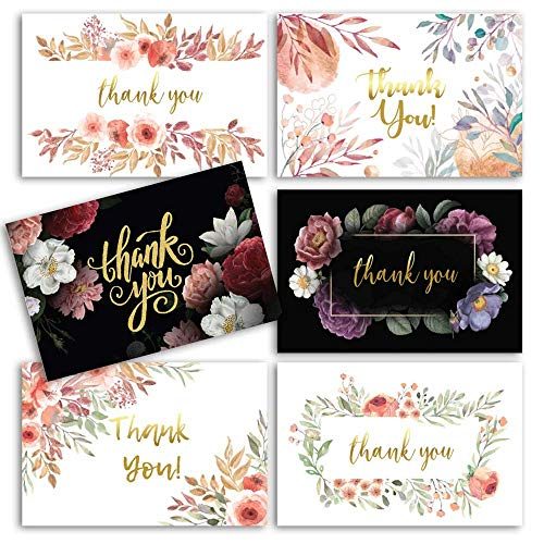 96 Floral Thank You Cards with Envelopes w Gold Foil Word and Matching Invitations | Bridal Shower Thank You Cards - Bulk Thank You Cards - Perfect for Wedding Bridesmaid Thank You Cards…