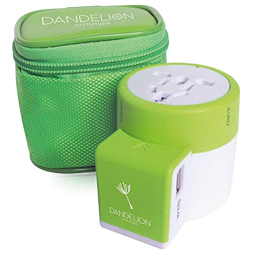 DANDELION Travel Adapter Outlet Adapter Traveler Accessory Universal Wall Charger 2 USB Ports (UK, USA, AU, Europe, Asia) International Power Plug Adaptor for Multiple Socket Type C, A, I, G (Green)
