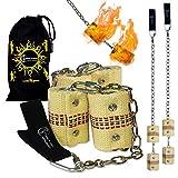Flames N Games Pro Bolas de fuego (Fire Poi) – Par de luces con 4 x 65 cm de mecha de Kevlar + bolsa.