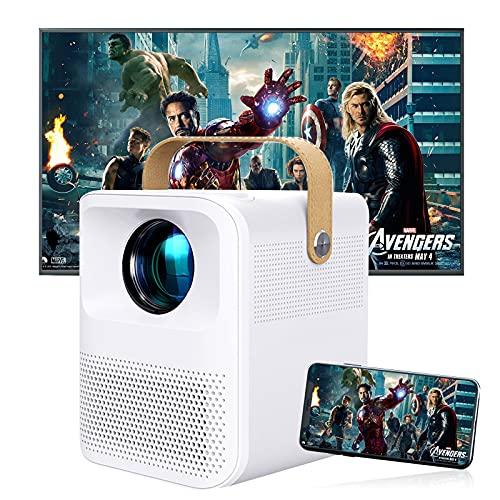 Mini vídeo WiFi Bluetooth 2021, Native 1920 x 1080P Full HD 1080P Retroproyector portátil, 5800 lúmenes, proyector de cine en casa, compatible con iPhone, Android, TV Stick, HDMI AV USB