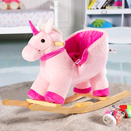 Cussity Rocking Horse for Baby, Kids Pink Unicorn Rocker, Toddler Rocking Chair with Handle Grip & Safe Belt for 6-36 months Kids, Present Gift for Boys Girls