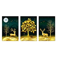 """北欧スタイルの森の木と鹿の動物キャンバス絵画壁アートポスターとリビングルームの家の装飾のためのプリント40x50cm / 15.7""""x19.7""""フレームなし"""