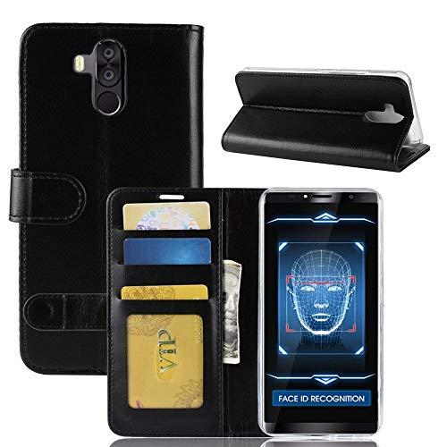 tinyue® Für Oukitel K6 Hülle, Ultradünne PU-Ledertasche Flip Wallet Cover, R64 strukturierte Business Style Ledertasche, Schwarz
