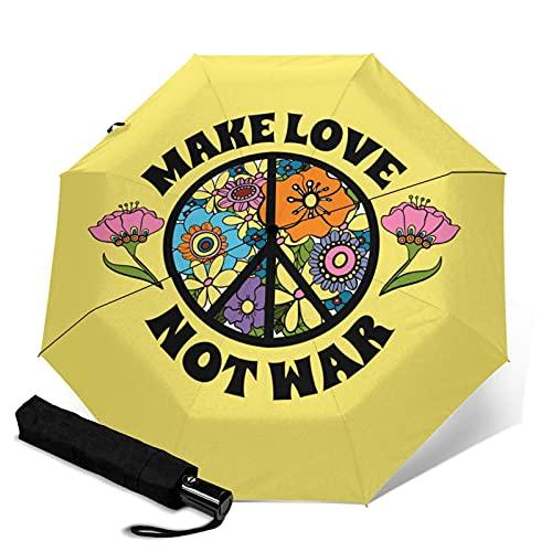 傘 レインウェア 折りたたみ傘 軽量 花とピースサイン、ヒッピーのシンボルを背景に、戦争ではなく恋をする 晴雨兼用 耐風構造 高耐久度 超撥水 梅雨対策 収納ポーチ付き