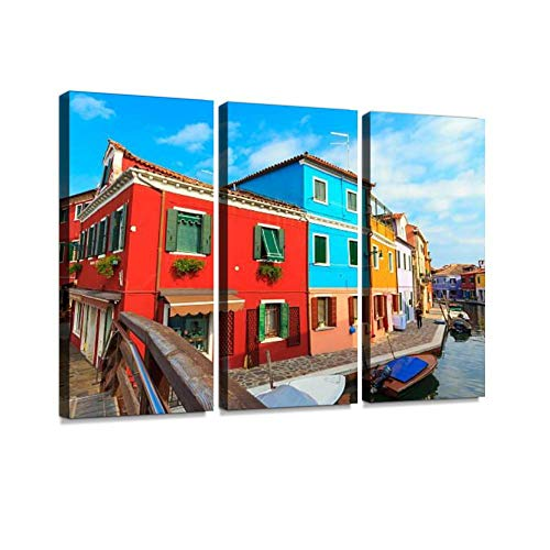 YKing1 Burano Colorful Houses View from Bridge, Italy Wall Art Painting Pictures Print On Canvas Stretched & Framed Artworks Modern Hanging Posters Home Decor 3PANEL
