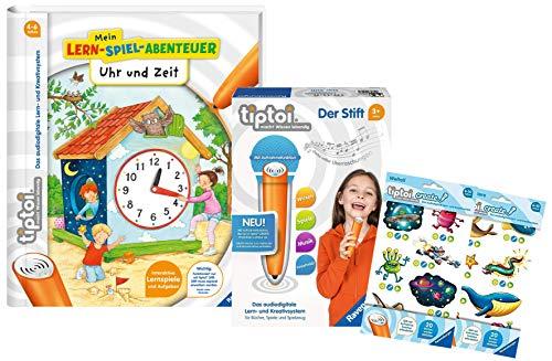tiptoi Ravensburger Set: Buch Uhr und Zeit Lern-Spiel-Abenteuer + 008018 Stift + 2 x Create Sticker Verschiedene Auswahl