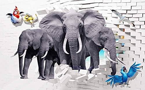 Home Renovation Furnishings Mural Elephant Herd and Parrot 350X250cm (137X98 inch) Custom 3D Murals Wallpaper Living Room Kids Bedroom Background Wall Mural Decor