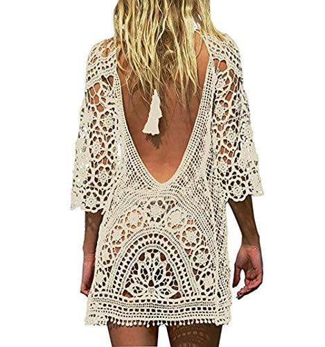 Bestyou Women's Long Sleeve Lace Crochet Bikini Cover up Tunic Beach Dress (Beige)