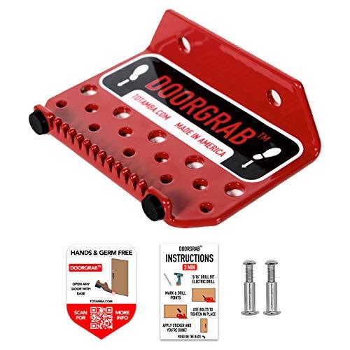 4 Pack | DoorGrab | Made in America Door Foot Pull Stainless Steel | Hands Free Door Opener | Avoid Touching Handles | Germ Free & Sanitary (4)