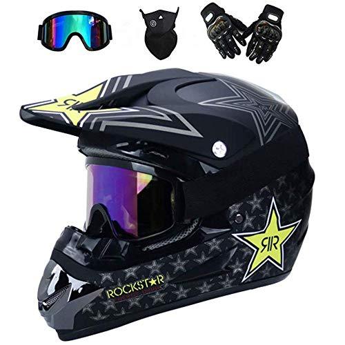 ZZSG ZSG Cascos de Cross Set MTB con Gafas/Máscara/Guantes/Red Elástica, Casco Descenso Integral Set de Protecciones Adultos Hombres Mujeres ATV Motocicleta Casco Casco Motocross Enduro,XL