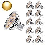 Eterbiz MR16 Ampoule LED Lampe Bulb, GU5.3 5W Lumière LED, Equivalent 50W Ampoule Halogène Blanc Chaud 3000K 450LM AC/DC 12V-24V Non-dimmable Spot LED (Lot de 10)