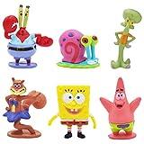 ZSWQ 6pcs / Set Bob Esponja Toys Lindo Bob Esponja de Dibujos Animados muñecas Adornos Animados muñecas Juguetes día Festivo